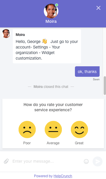 new HelpCrunch live chat rating screen shot