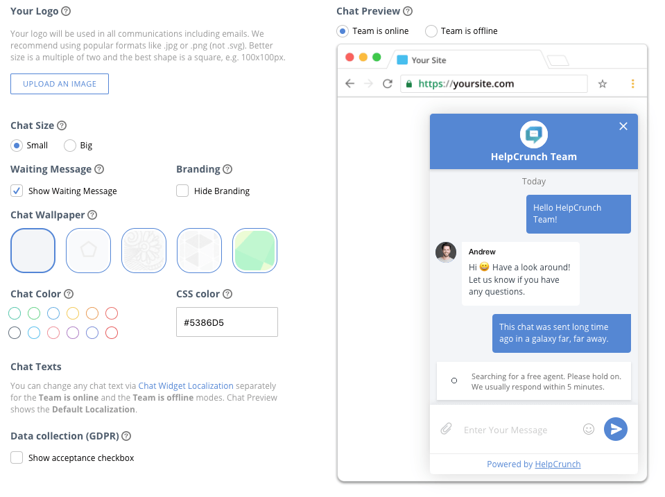 New changes preview in HelpCrunch live chat customization screen shot