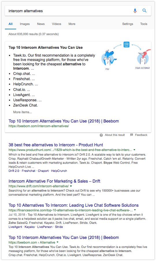 Intercom alternatives - screenshot Google search results