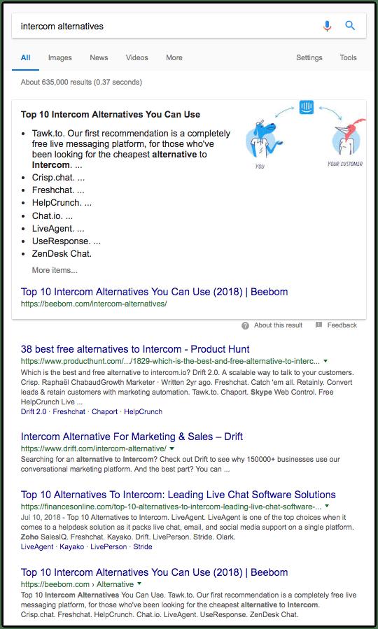 Intercom alternatives - screenshot Google search results