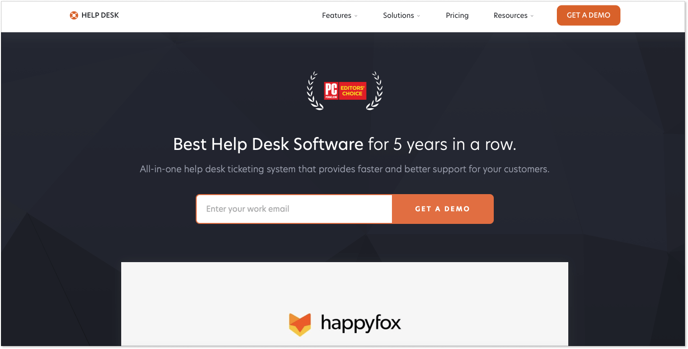 HappyFox landing page