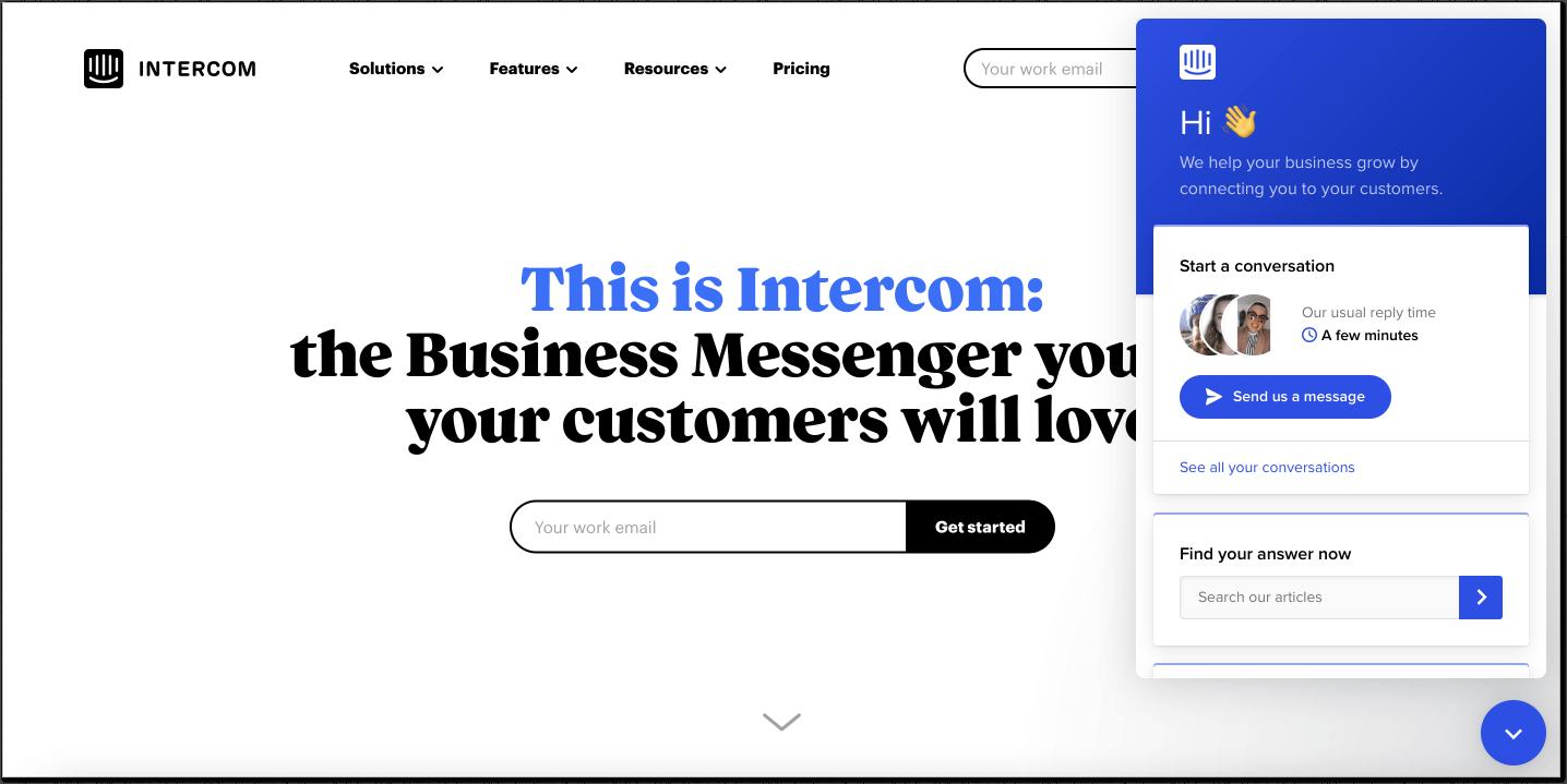 Intercom landing page