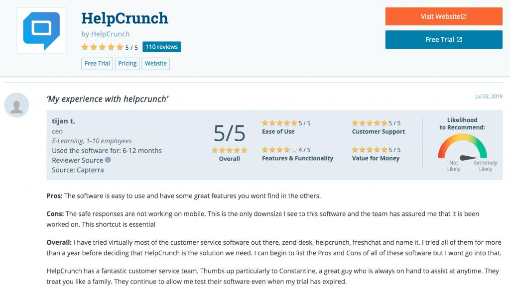 Online ratings/review - customer satisfaction metrics