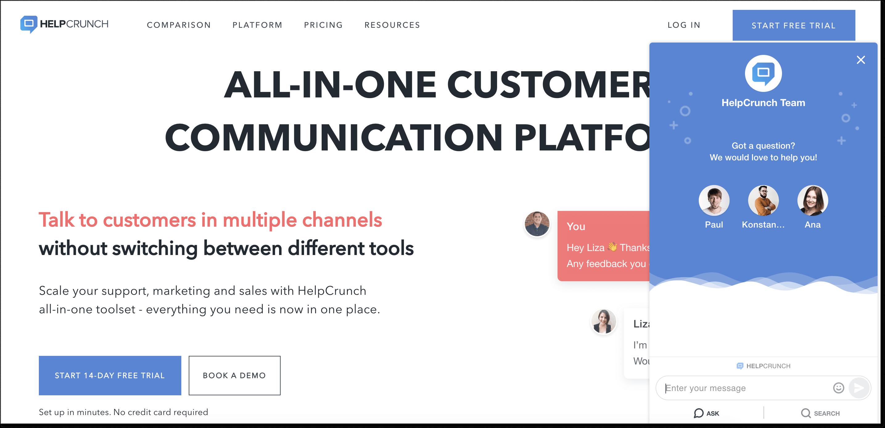 HelpCrunch homepage + live chat widget