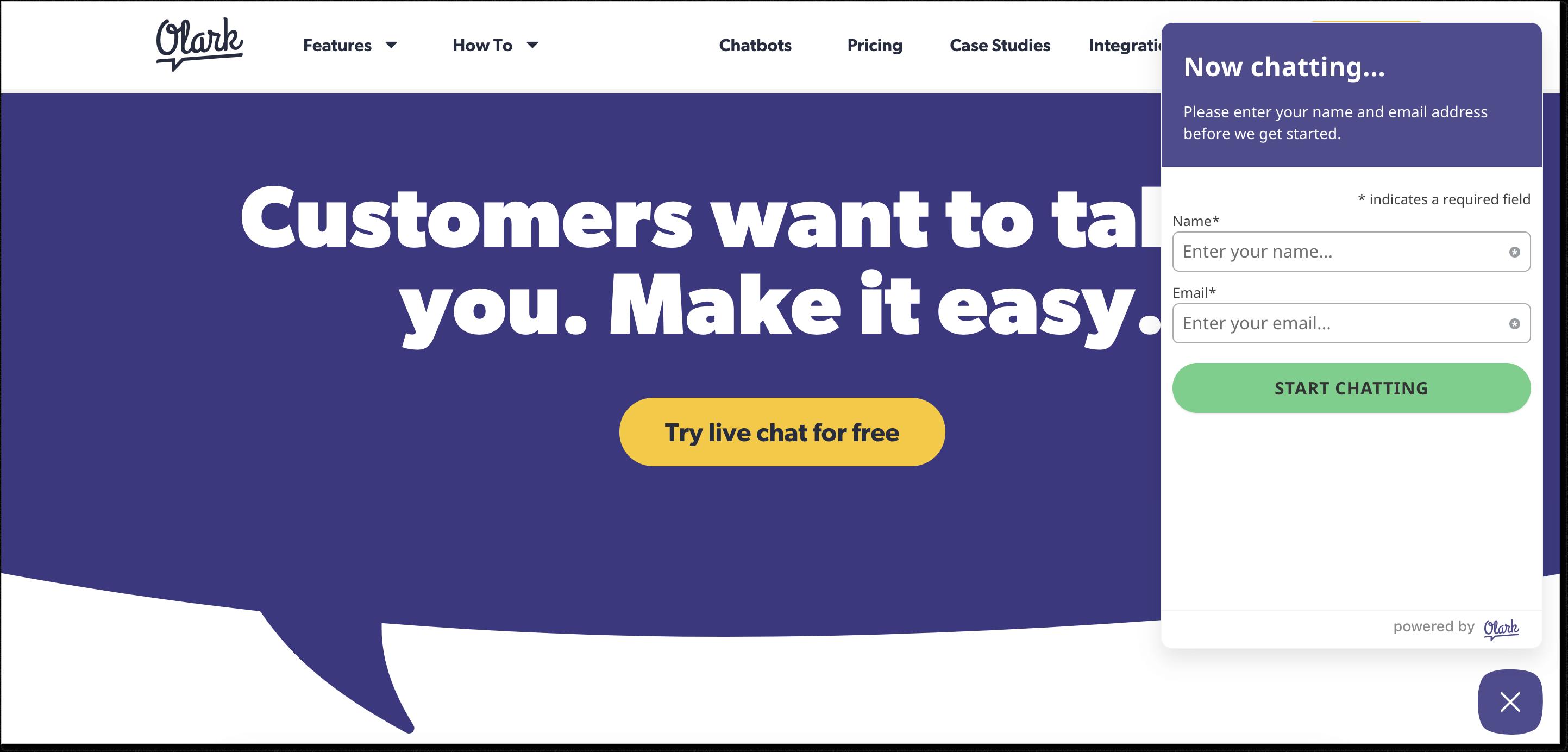 Olark homepage with live chat widget