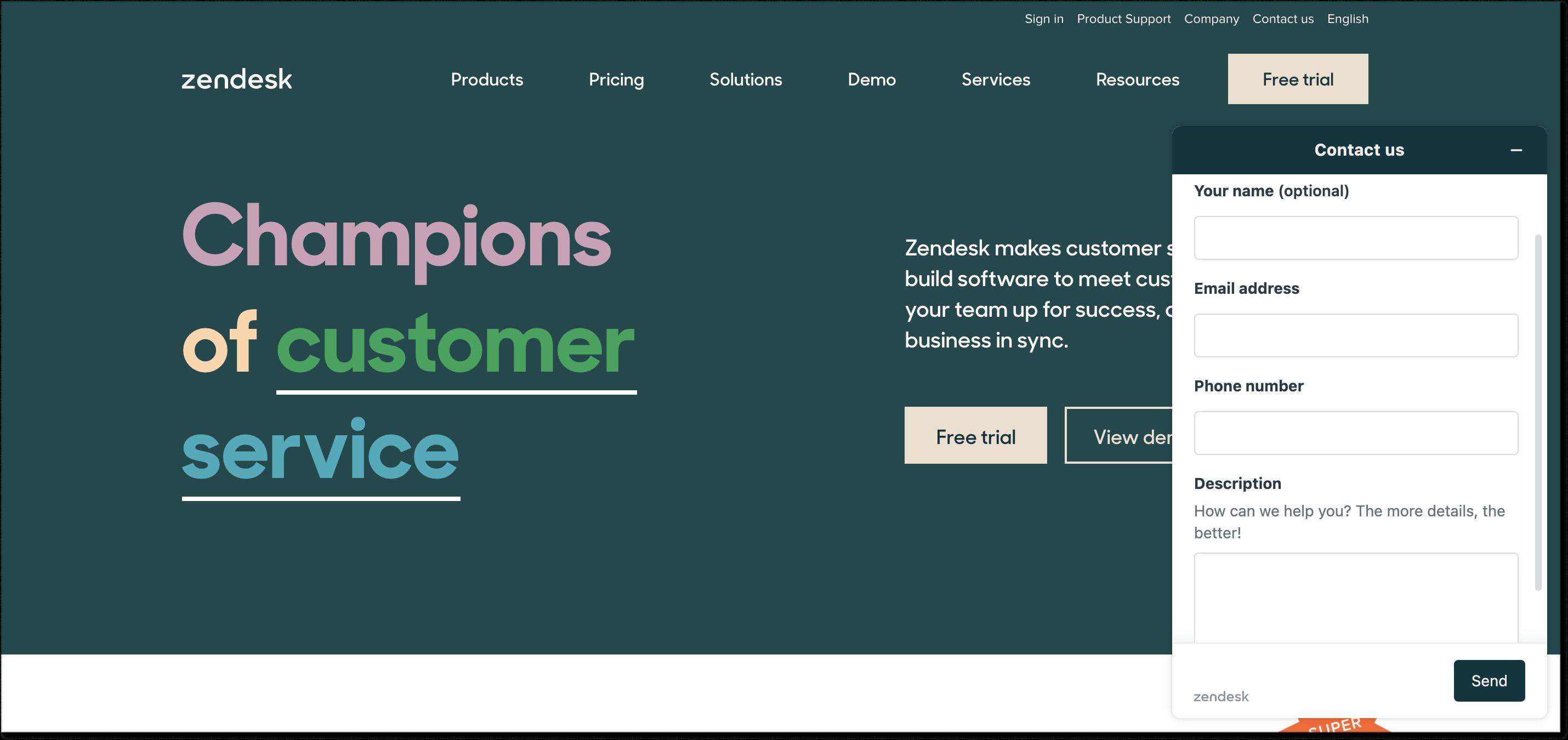 Zendesk homepage + live chat widget
