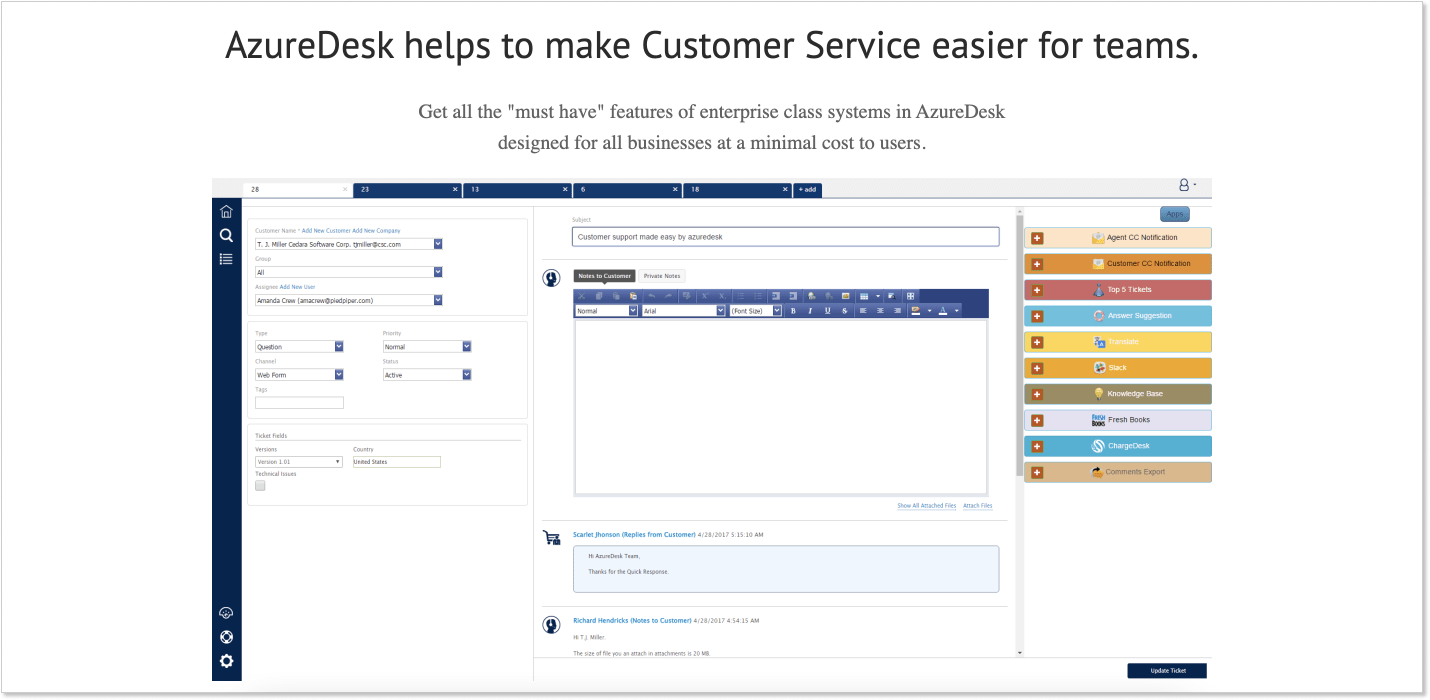 AzureDesk customer service software