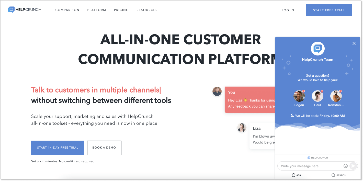 HelpCrunch customer service software