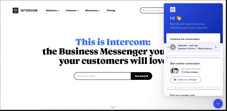 Intercom customer service software