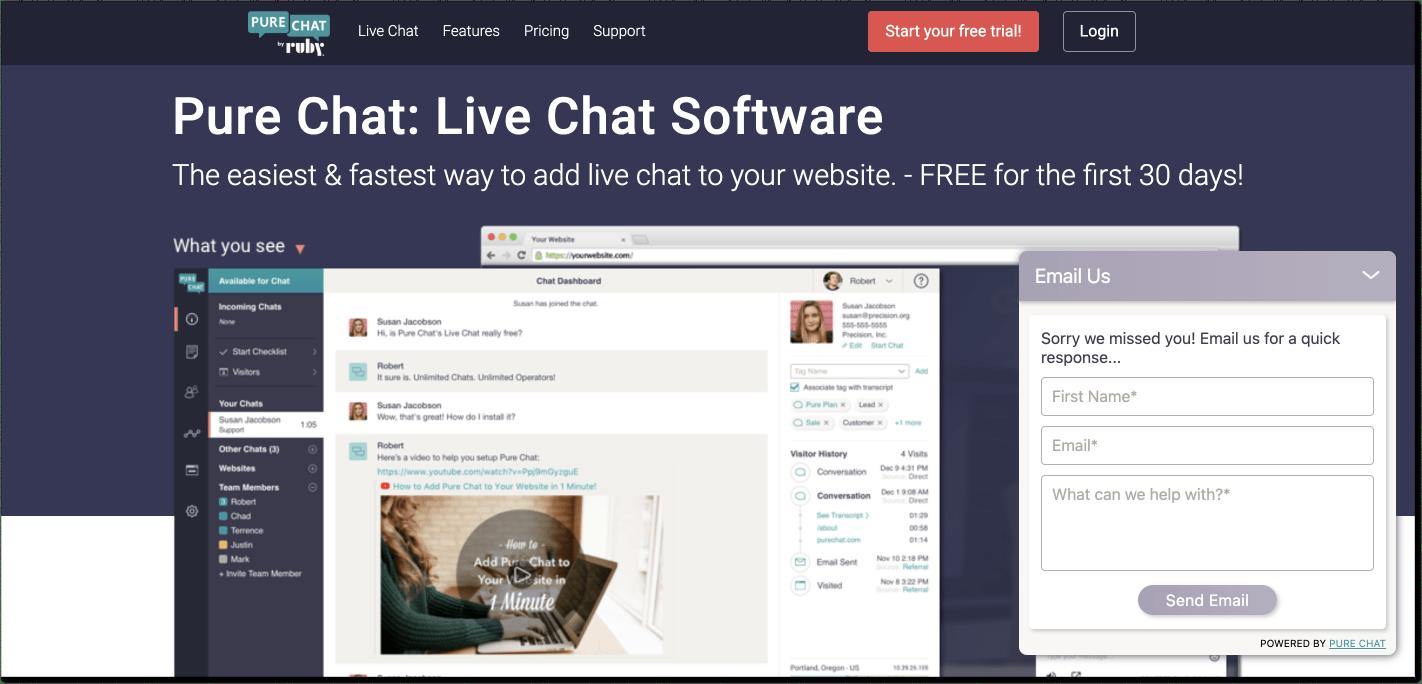 PureChat customer service software