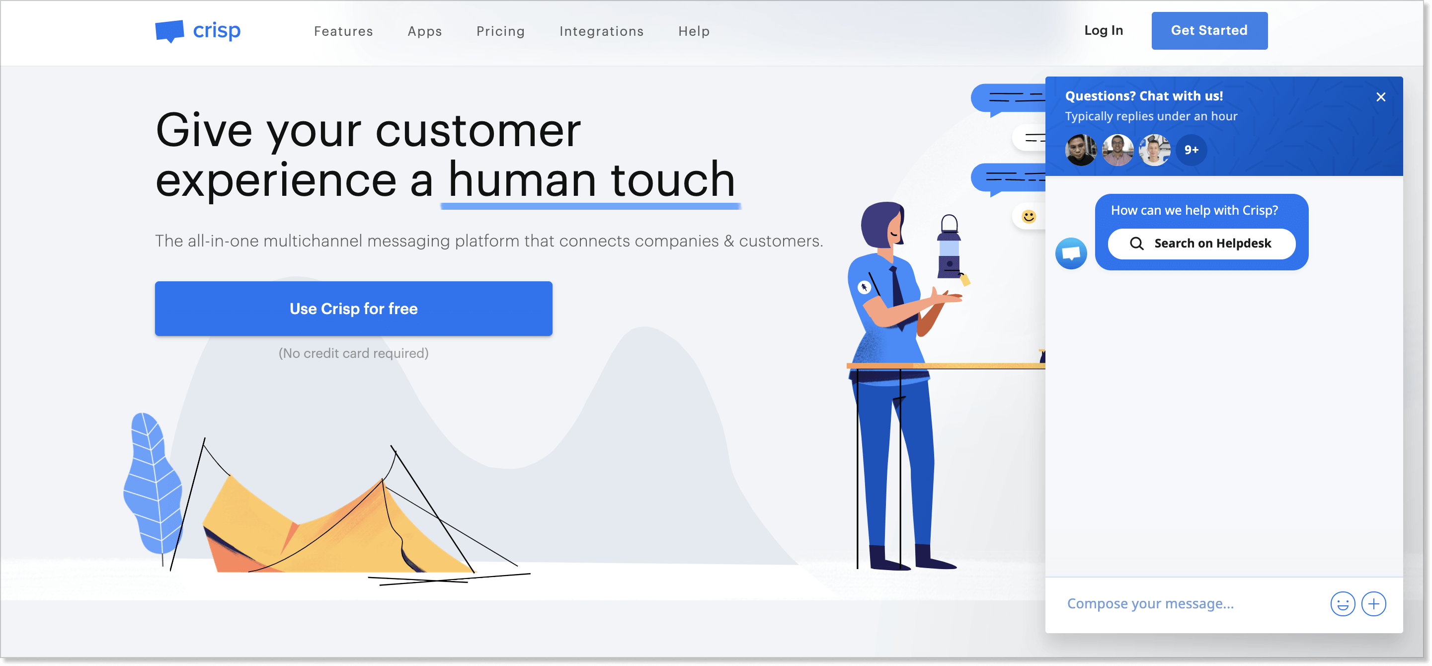 Crisp homepage with a live chat widget