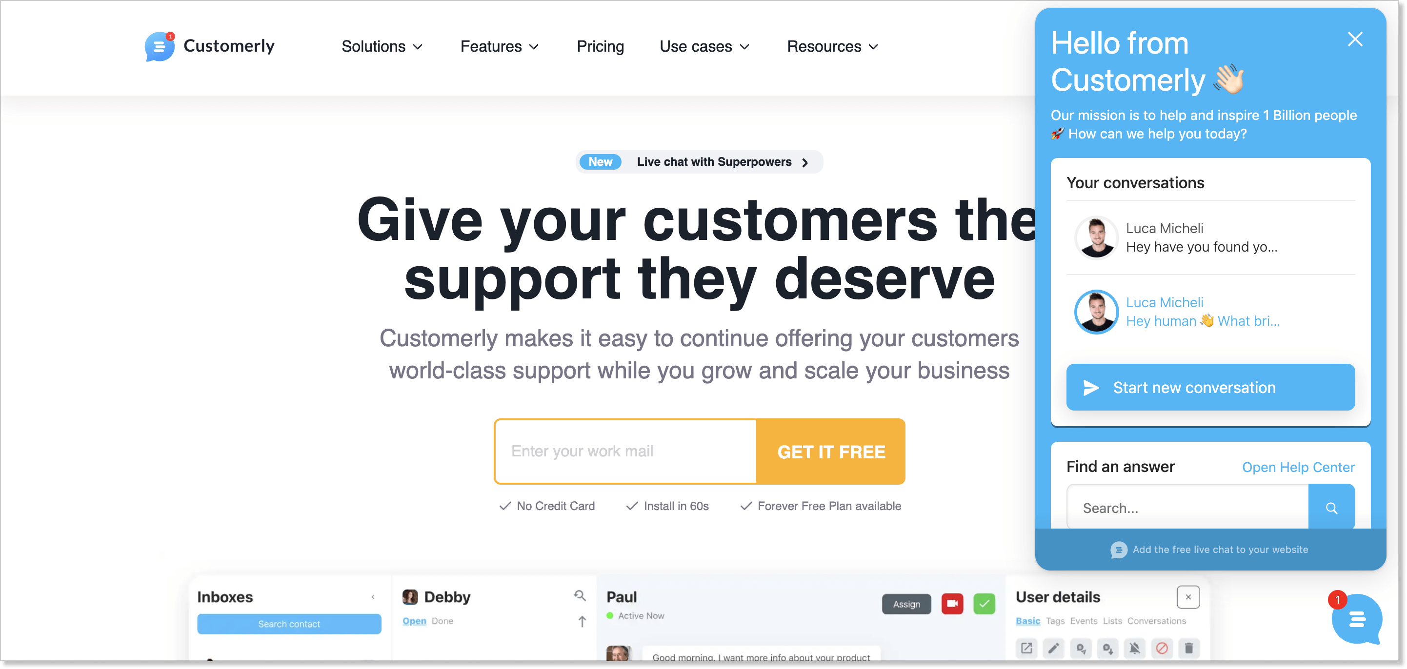 Customerly homepage with a live chat widget