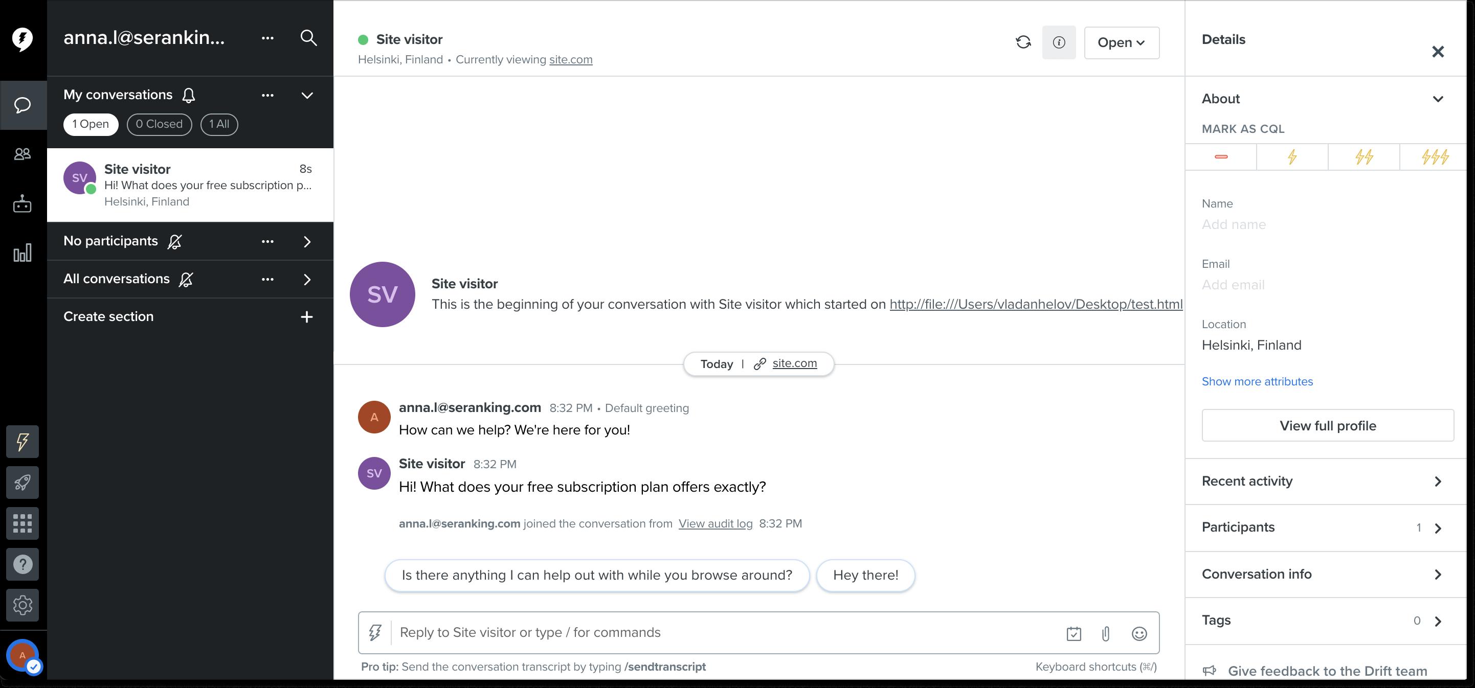 Drift live chat dashboard