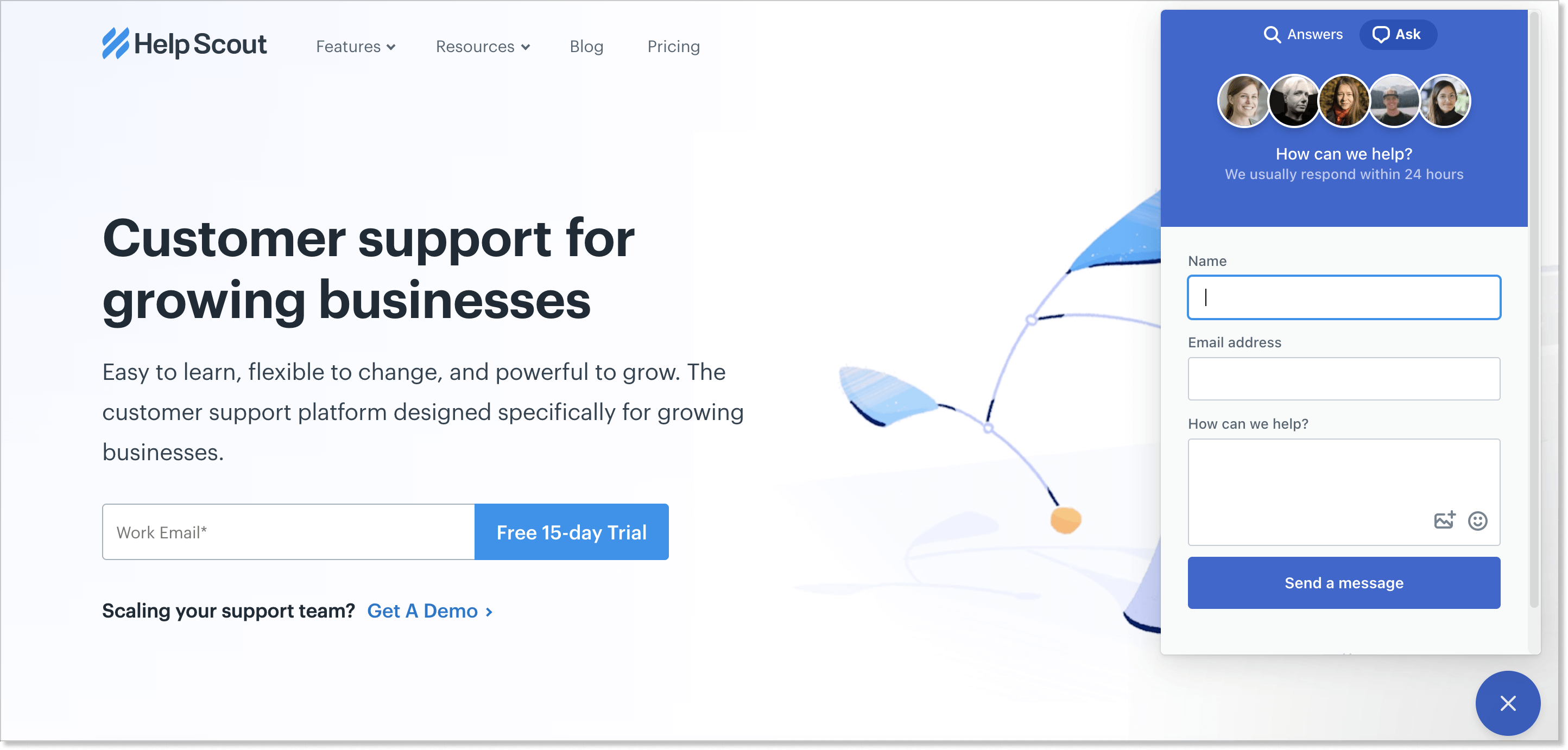 Help Scout homepage with a live chat widget