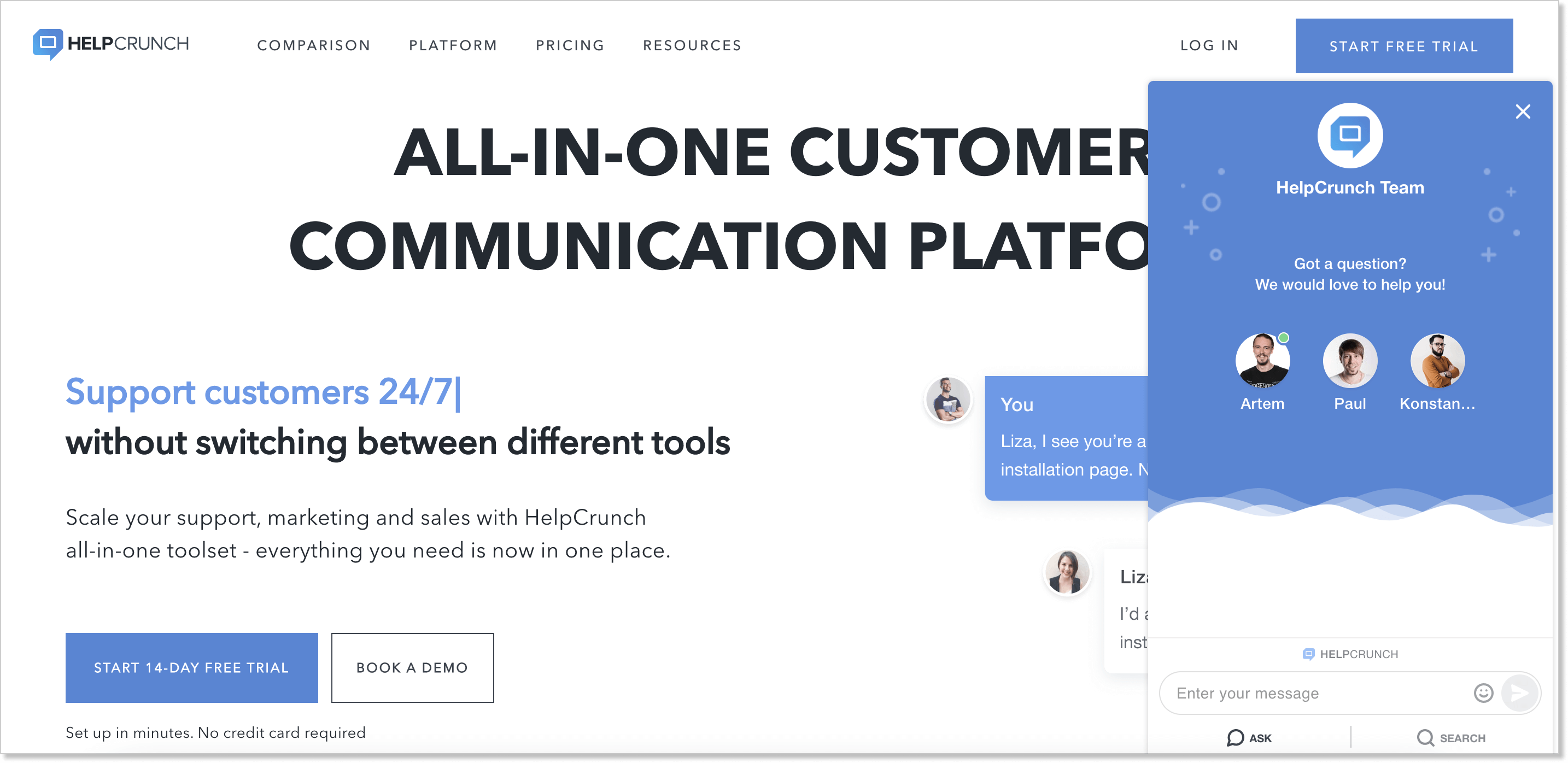 HelpCrunch homepage with a live chat widget