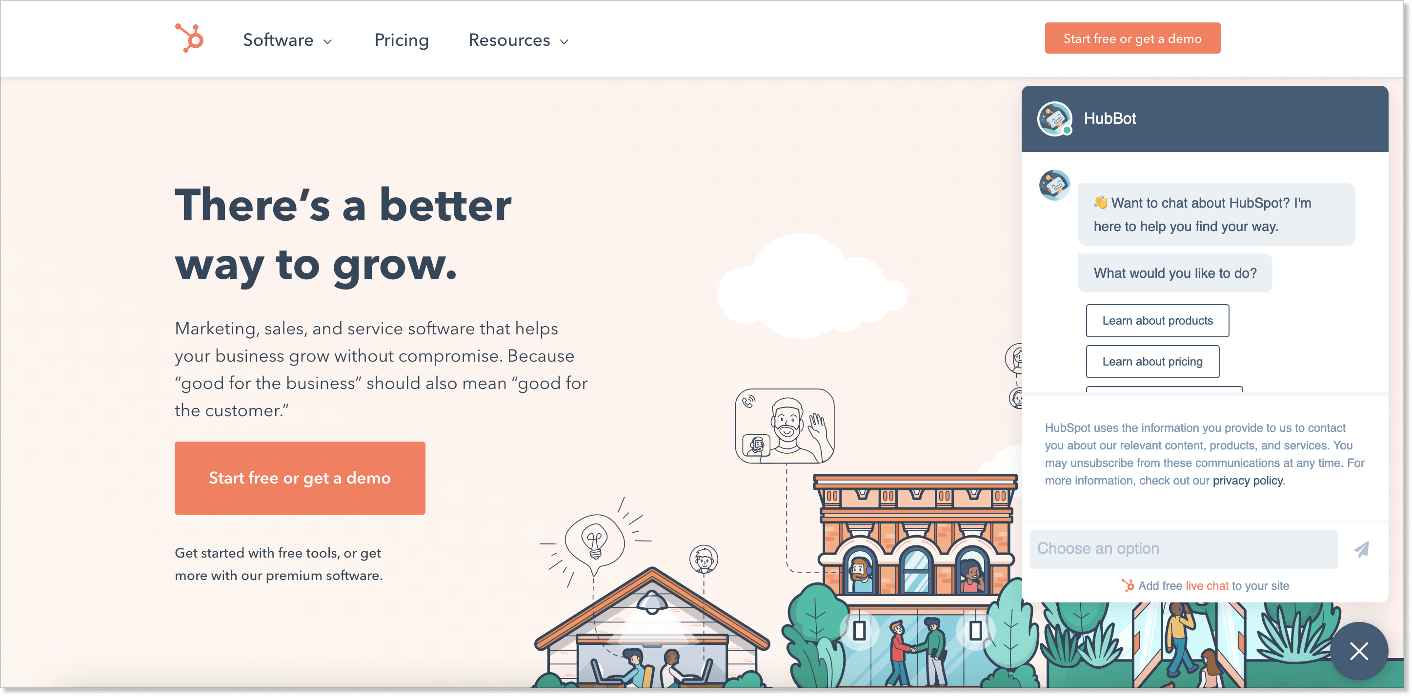 Hubspot homepage with a live chat widget