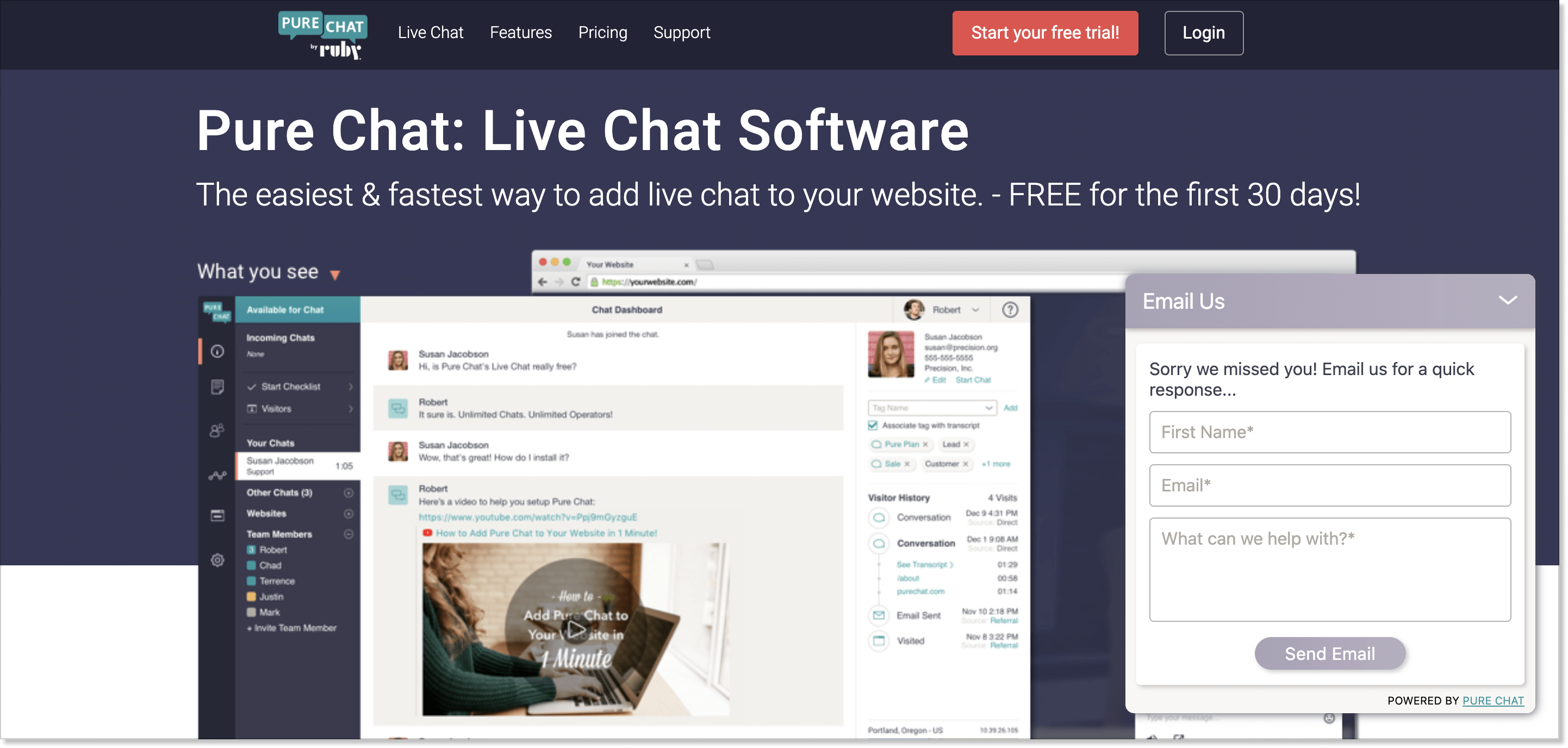 Pure Chat homepage with a live chat widget
