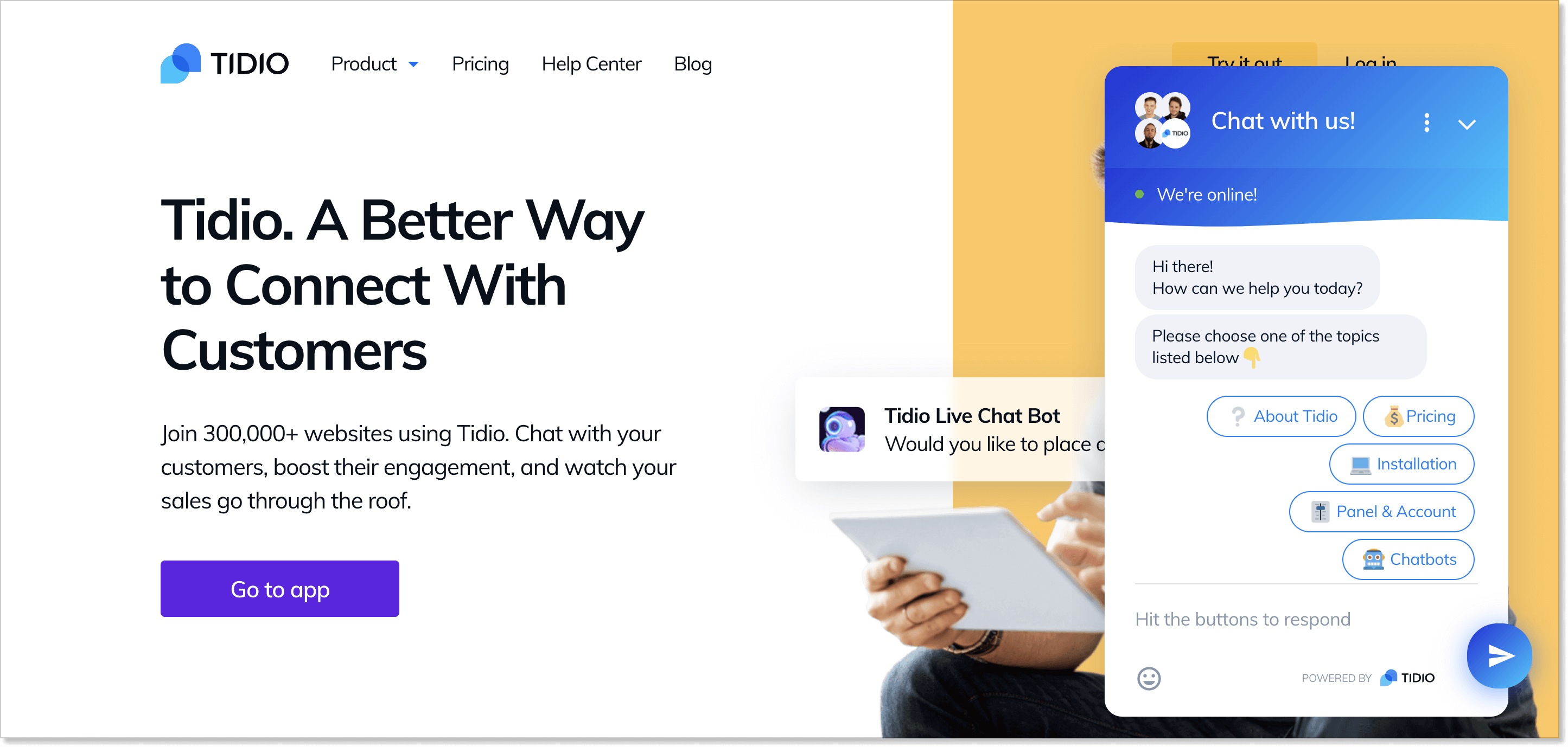 Tidio homepage with a live chat widget