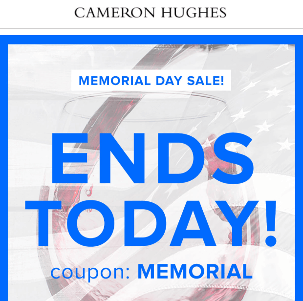 Cameron Hughes promotion email examples
