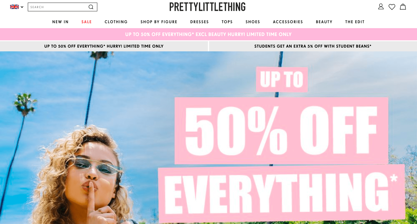 Pretty Little Thing page design example