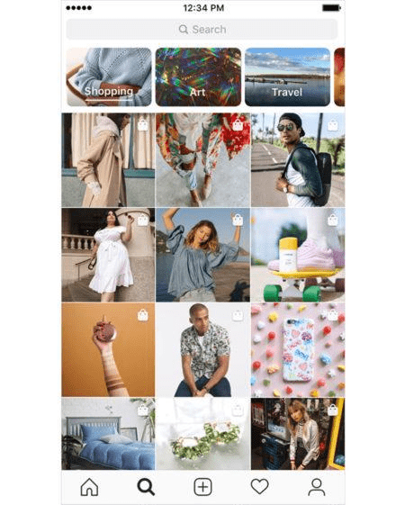 Instagram Shopping Explore tab