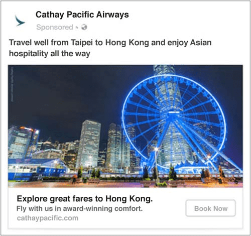 Cathay Pacific Airways dynamic ad example