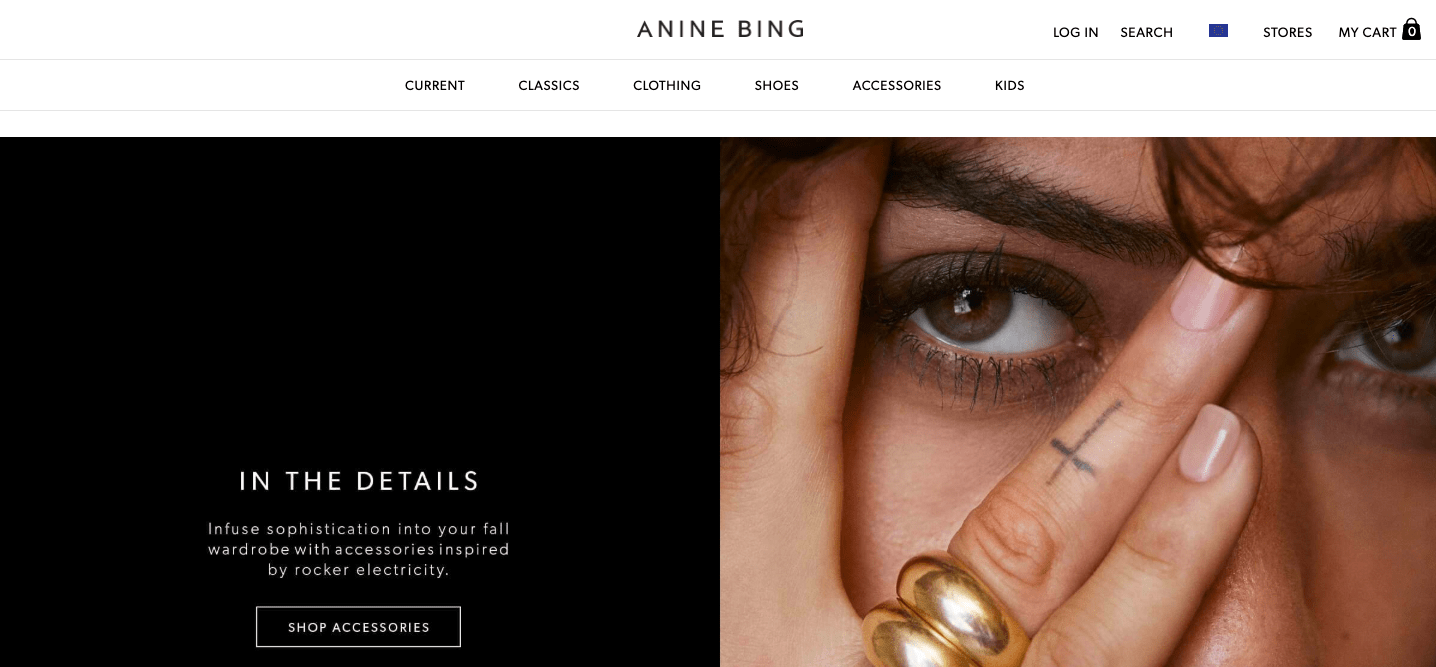 Anine Bing page design example