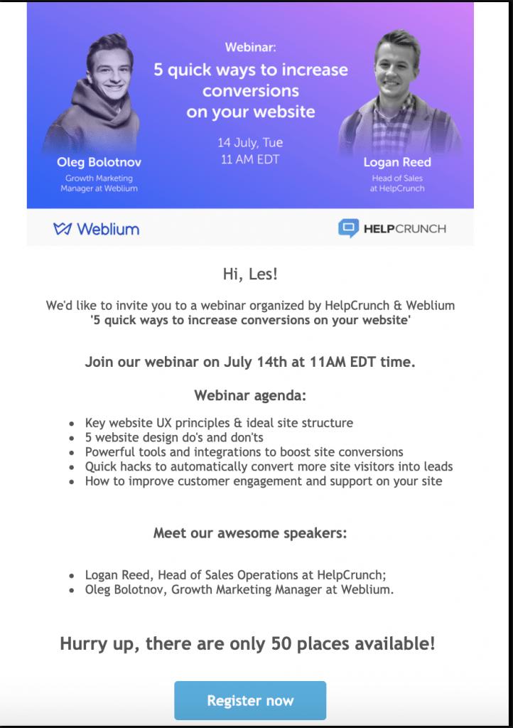 helpcrunch webinar invitation email broadcast