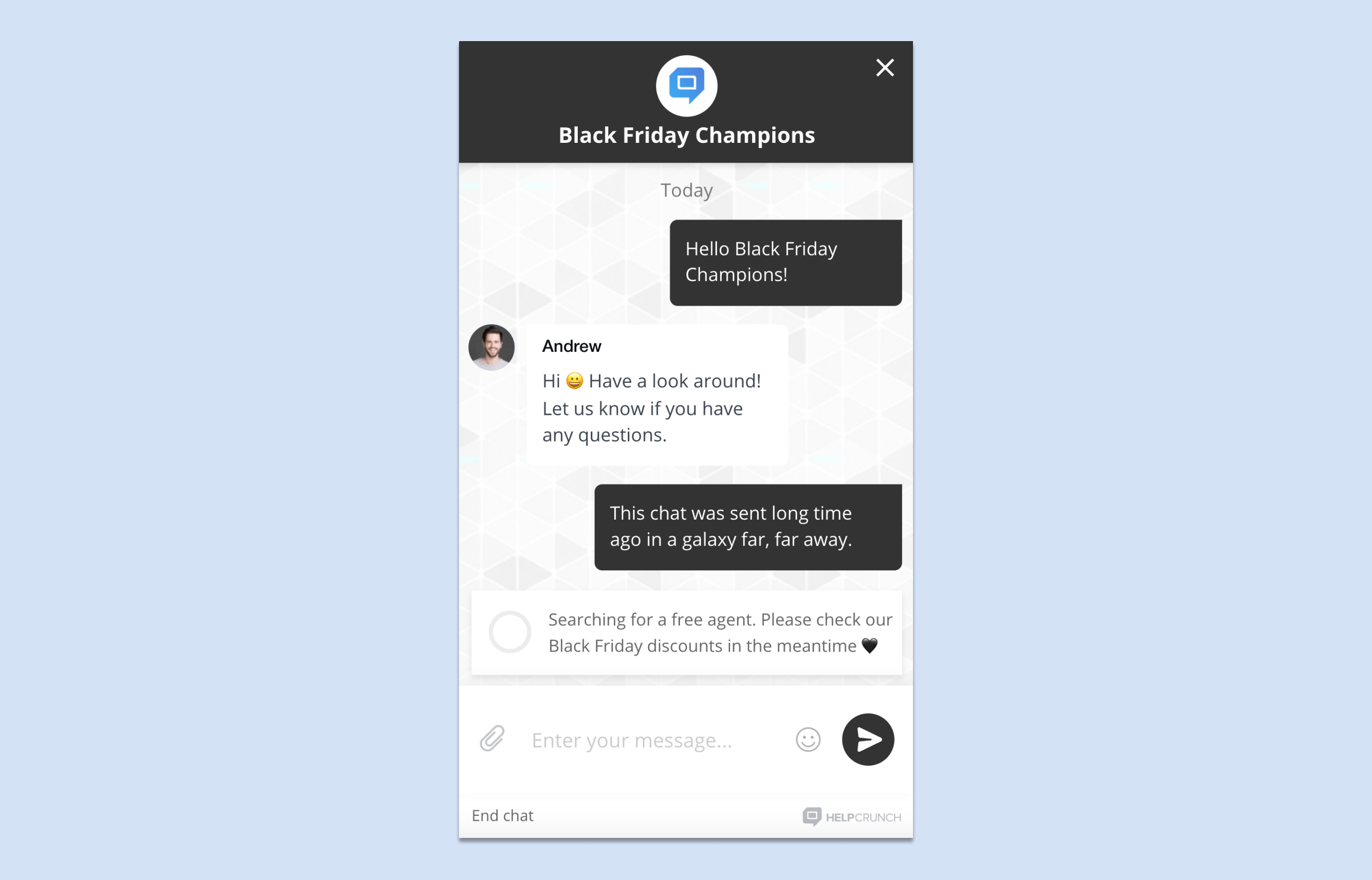 Black Friday chat widget