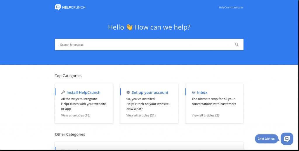 helpcrunch knowledge base new