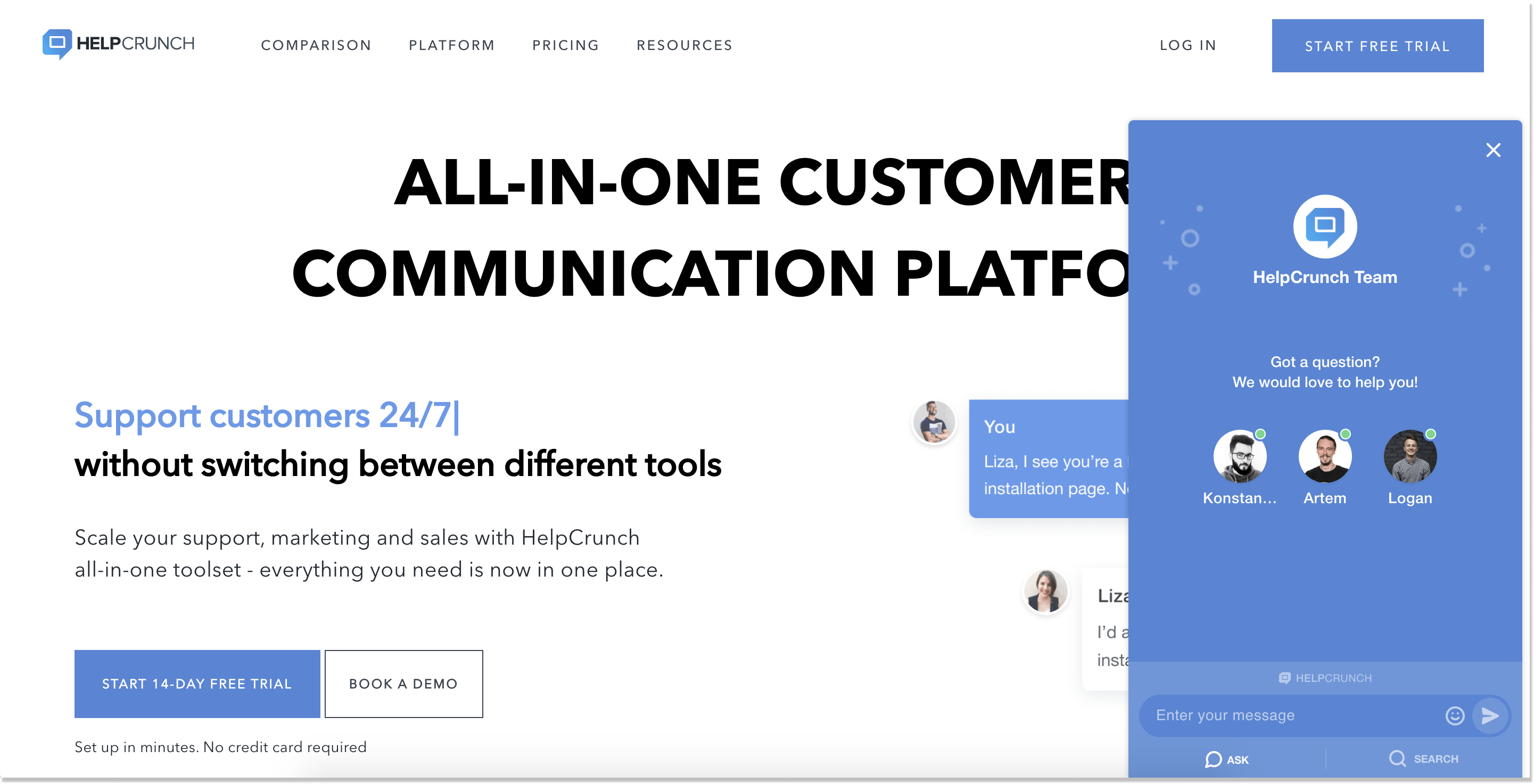 helpcrunch live chat widget landing page