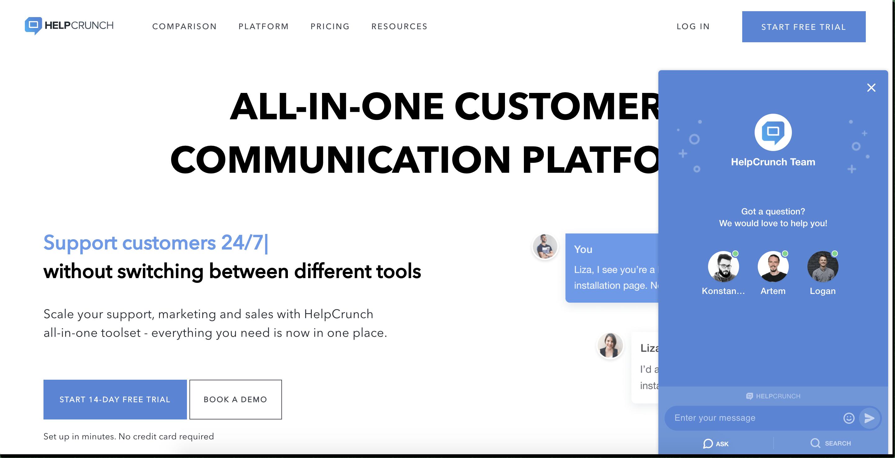 helpcrunch live chat widget landing page