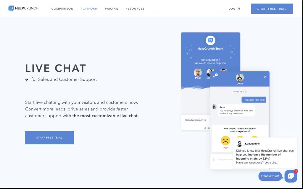 helpcrunch proactive chat message