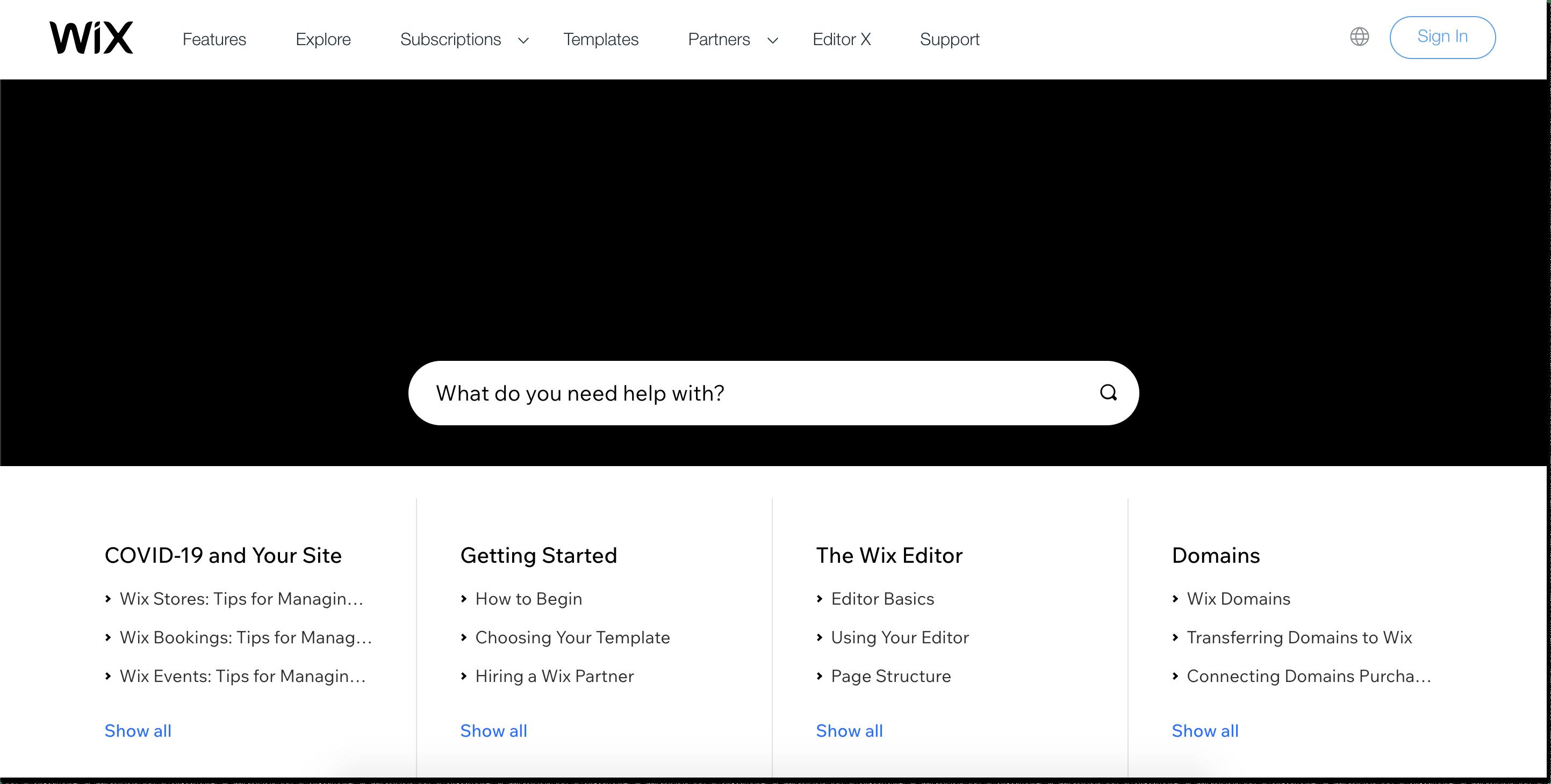 wix knowledge base