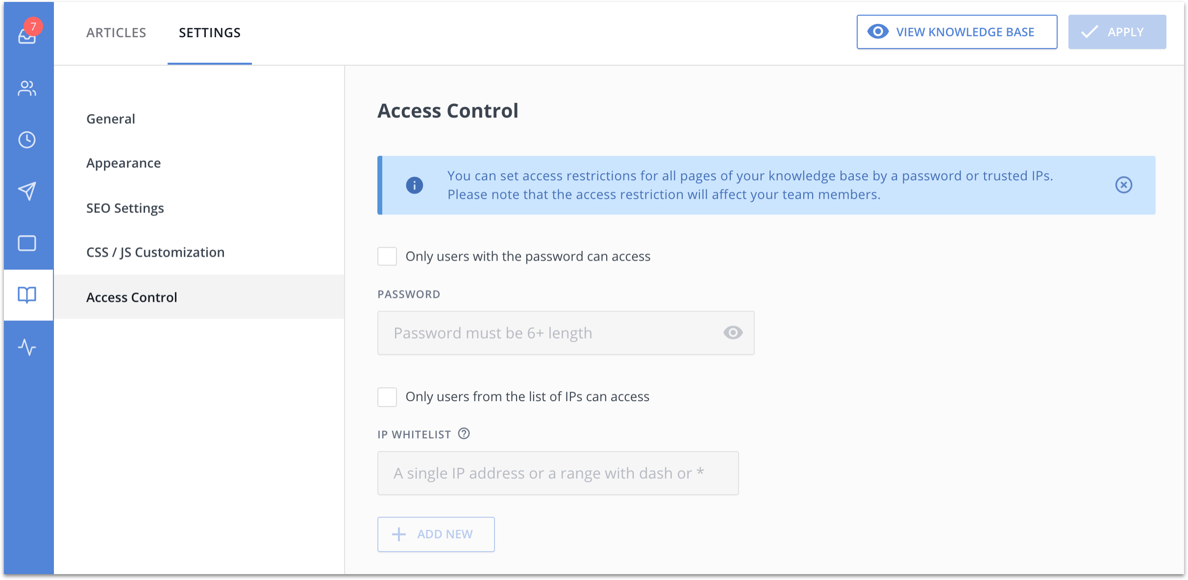 Settings for knowledge base access restrictions