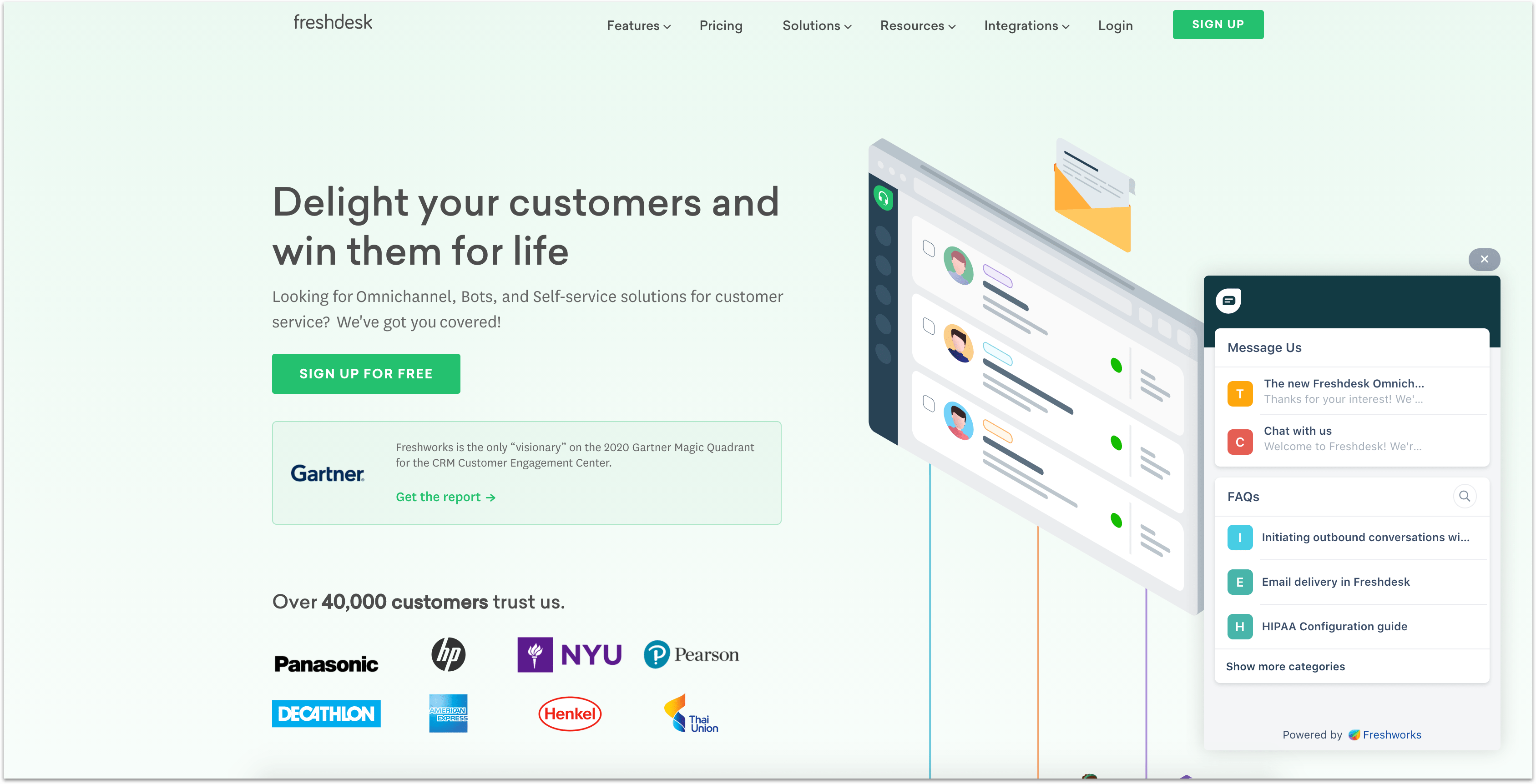 Freshdesk support app homepage with live chat