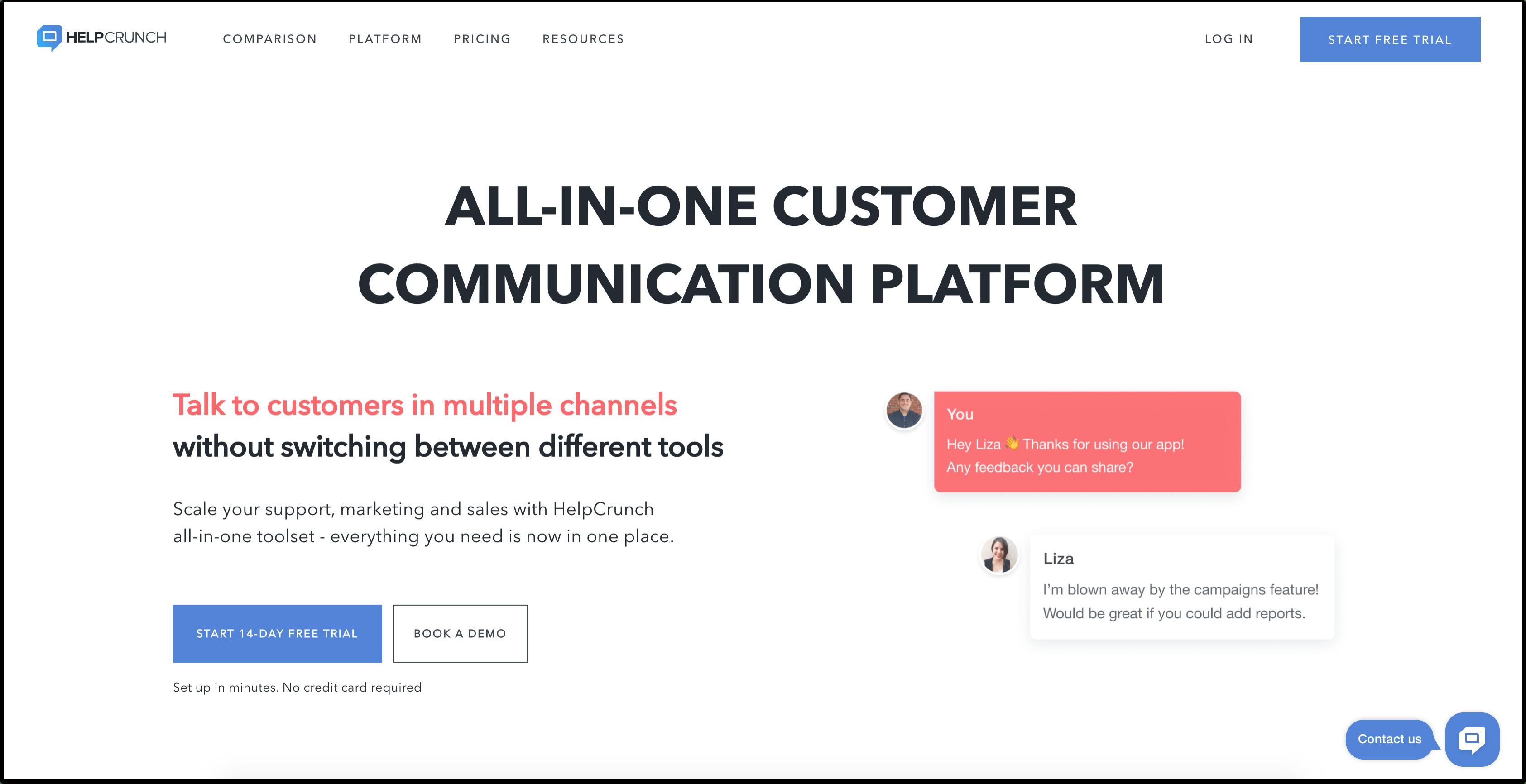 HelpCrunch homepage