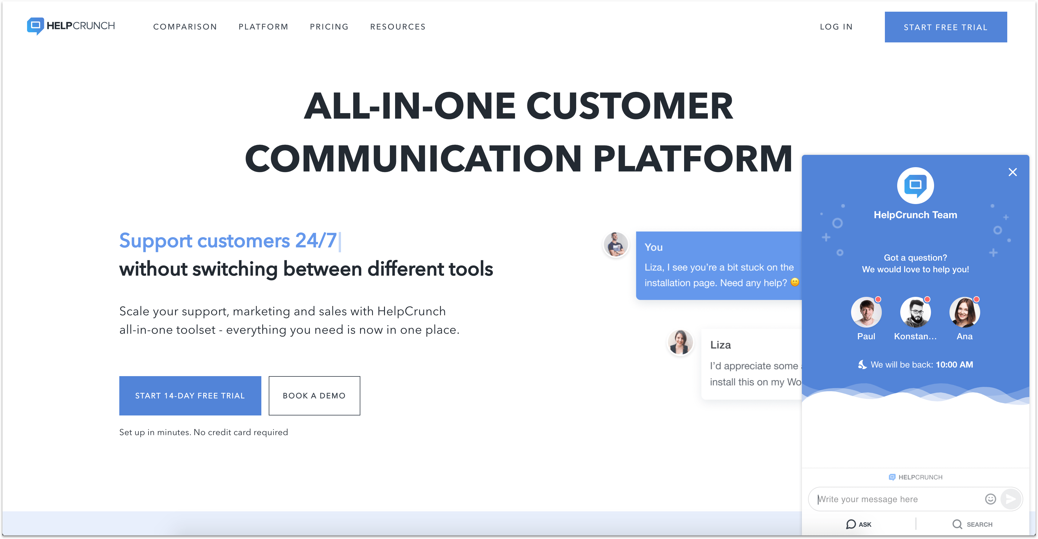 HelpCrunch support app homepage with live chat