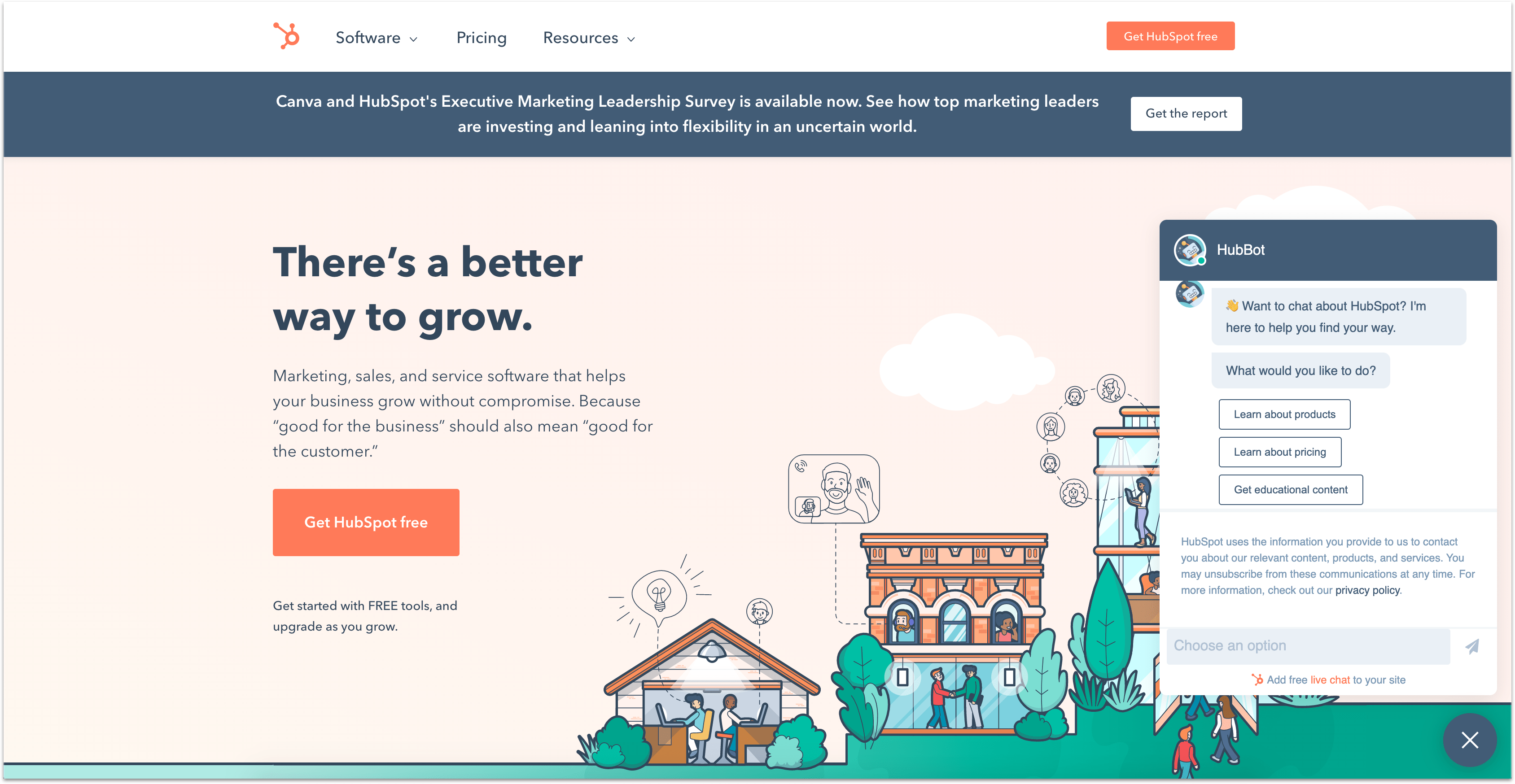 HubSpot support app homepage with live chat