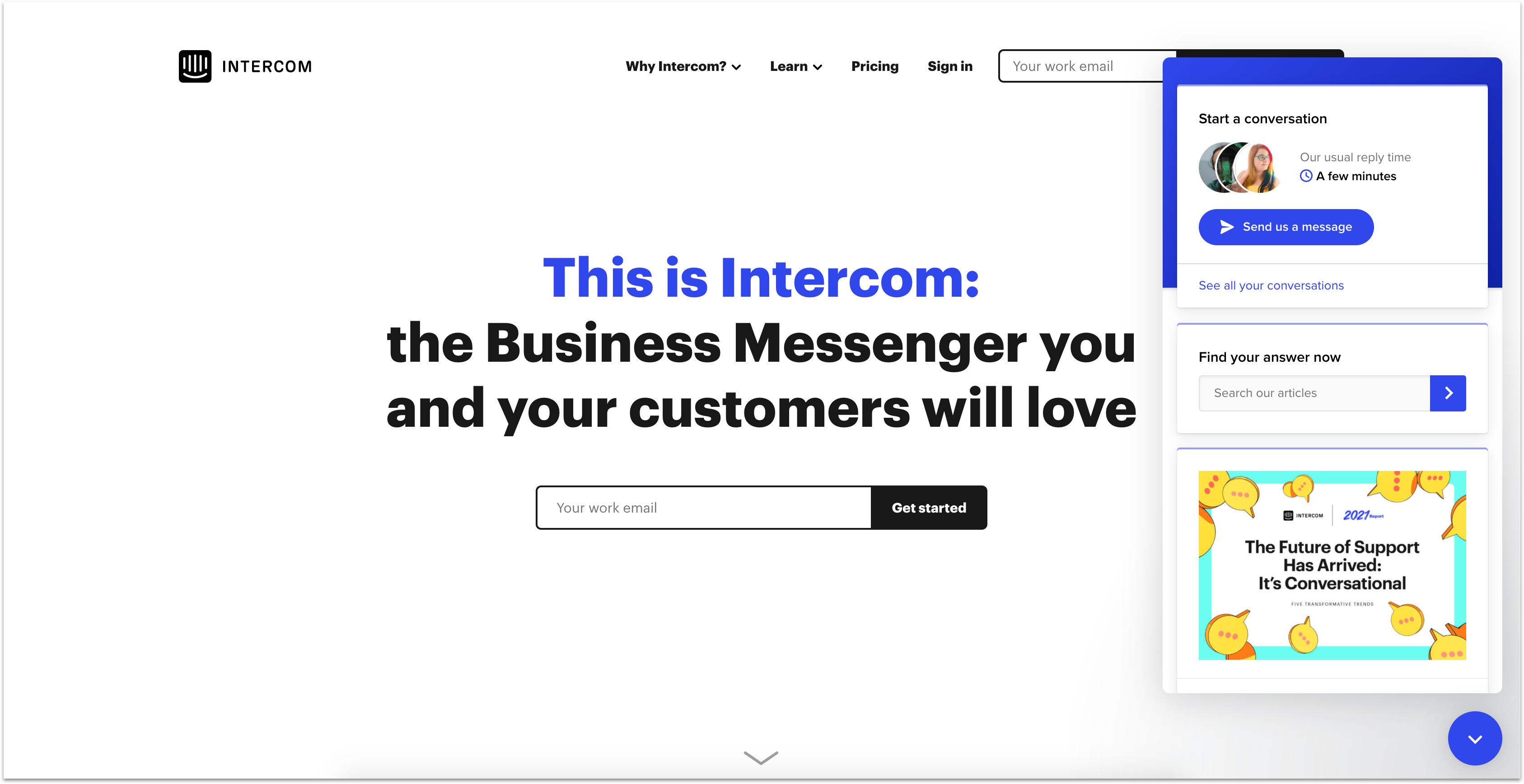 Intercom homepage with chat