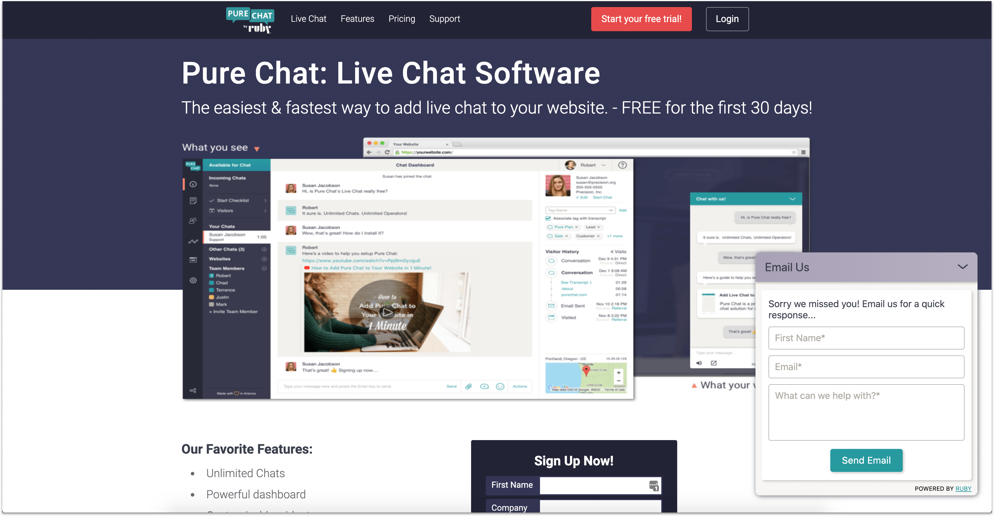 Pure Chat support app homepage with live chat