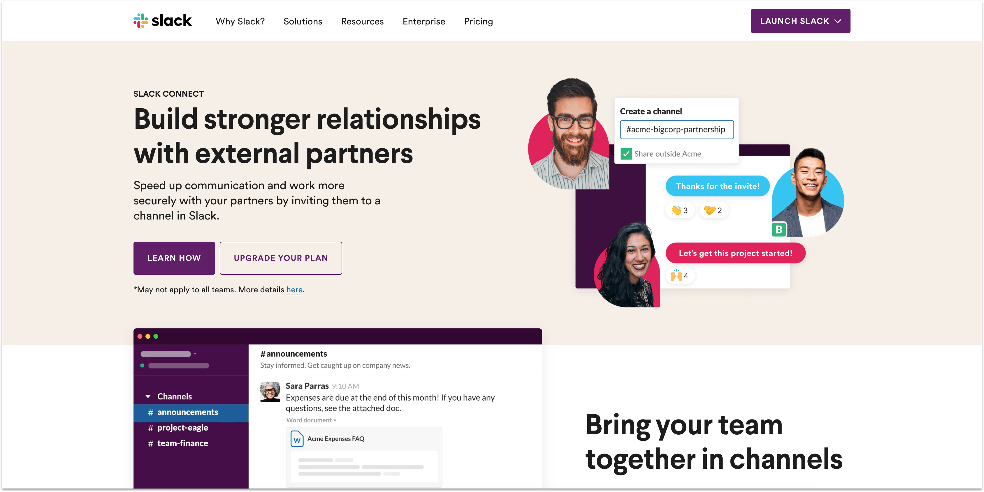 Slack support app homepage