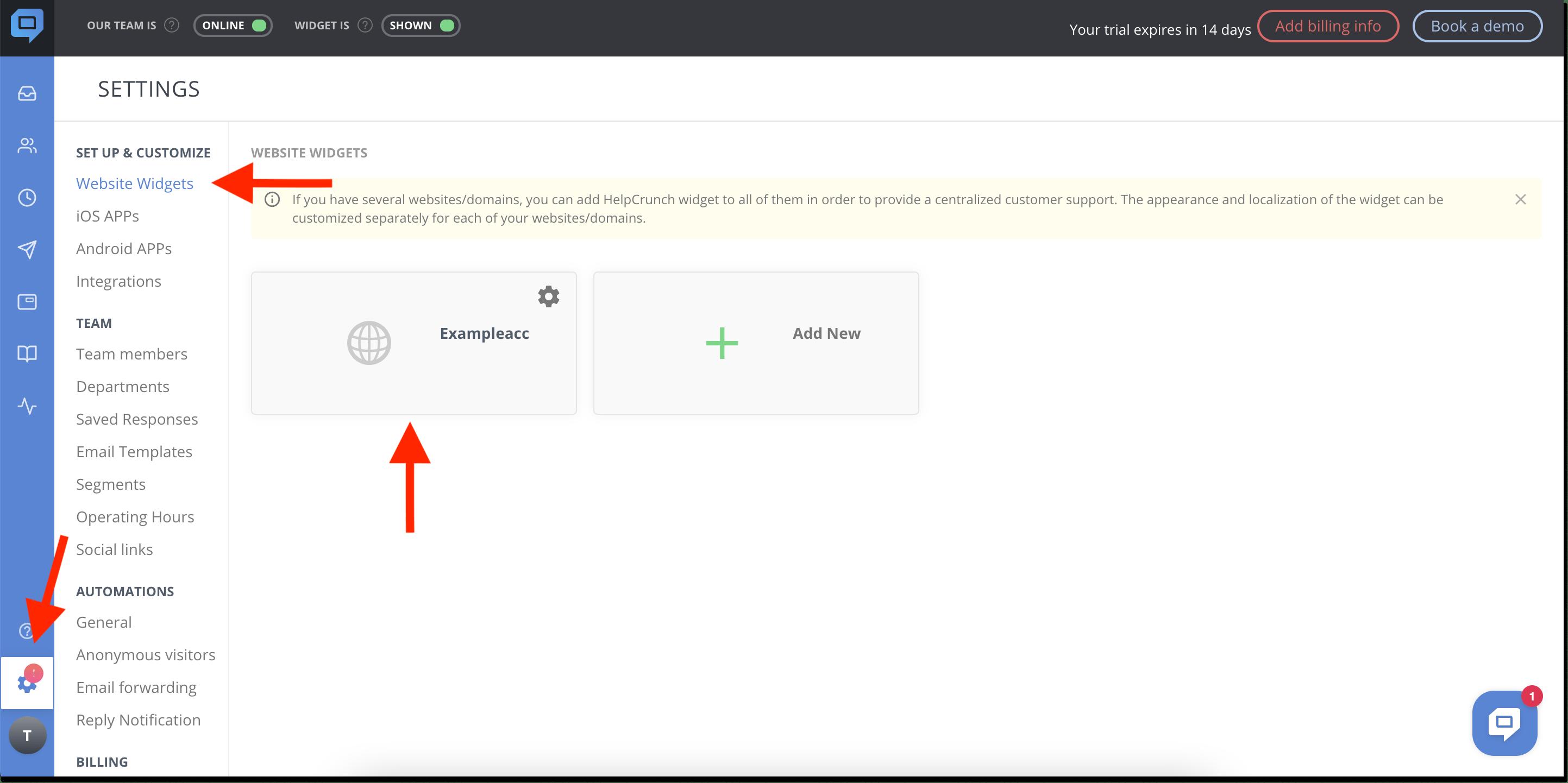 helpcrunch from account installation