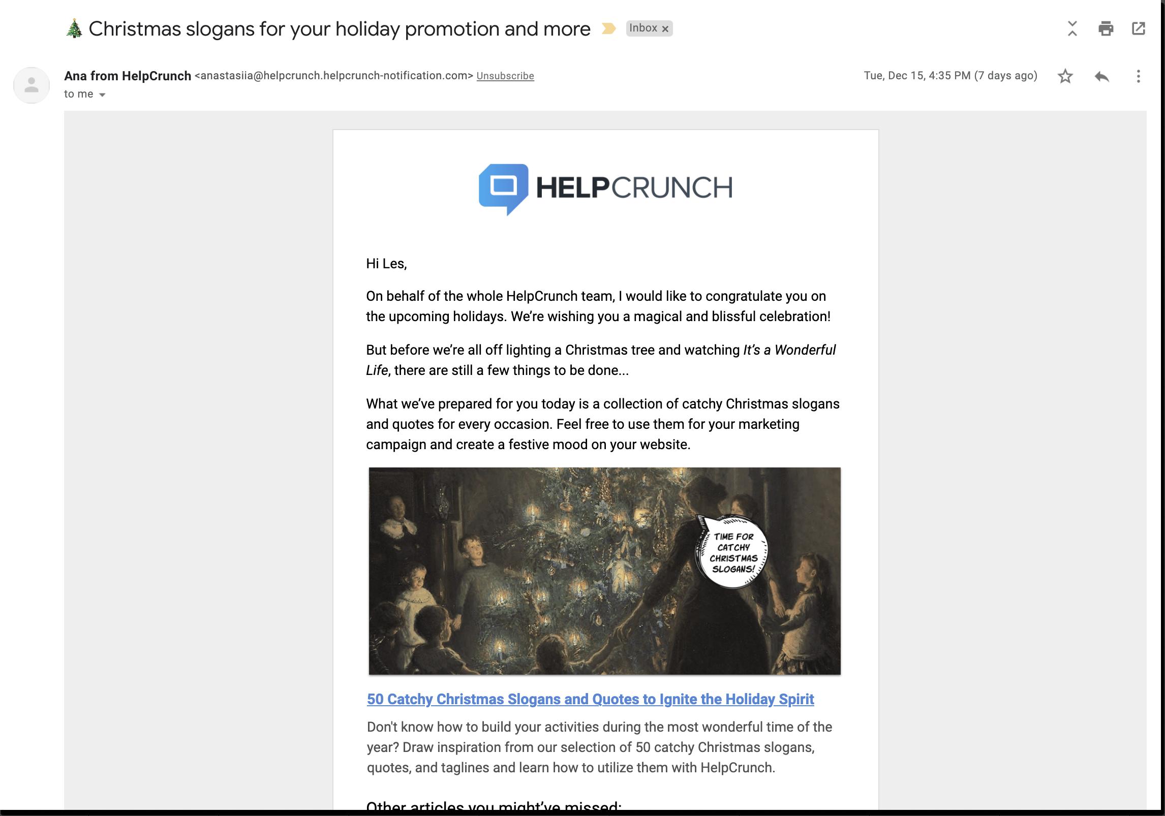helpcrunch blog email newsletter