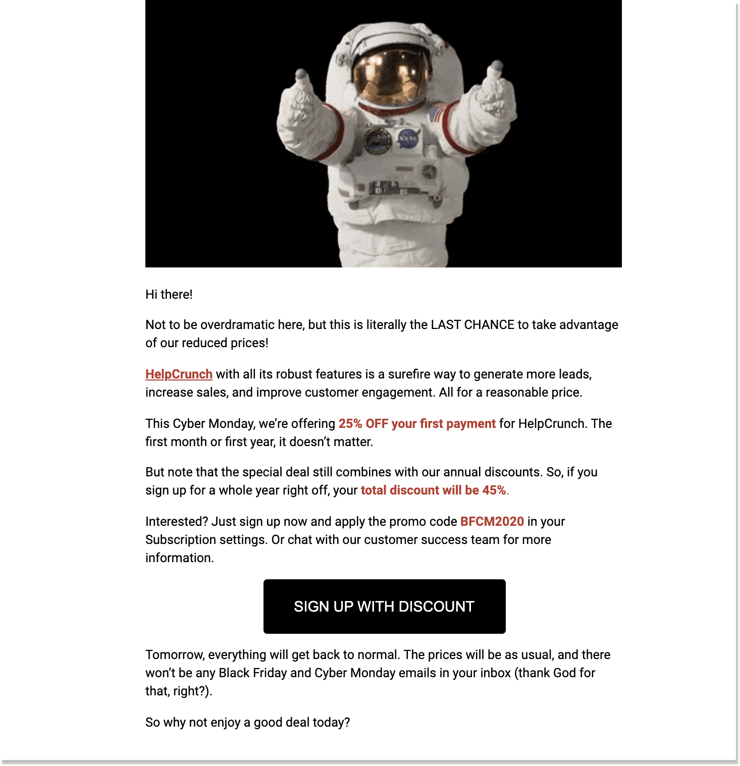 helpcrunch cyber monday last call email