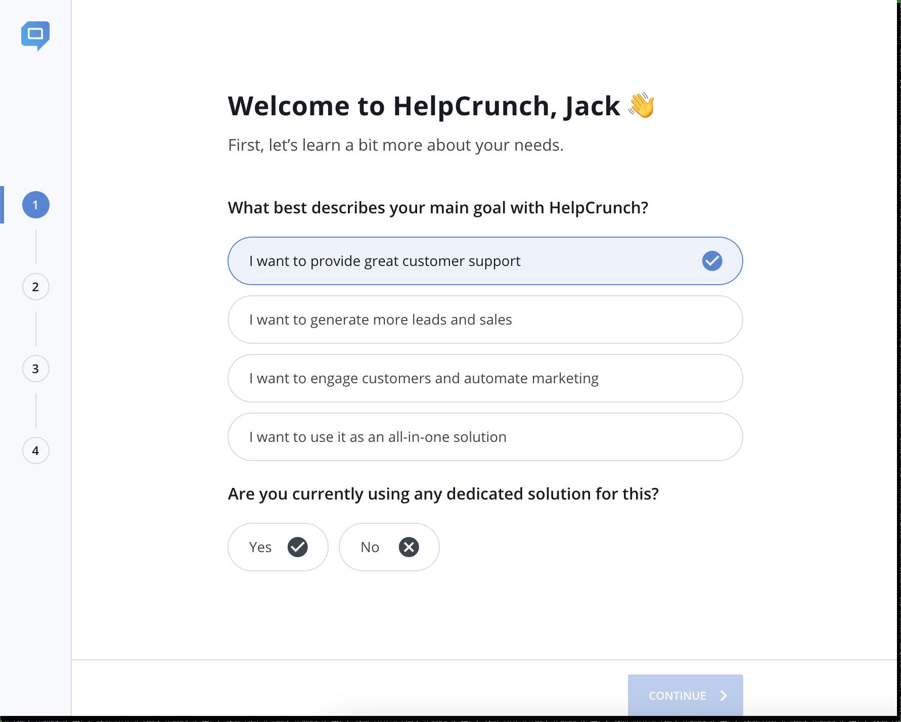 helpcrunch installation wizard step 1