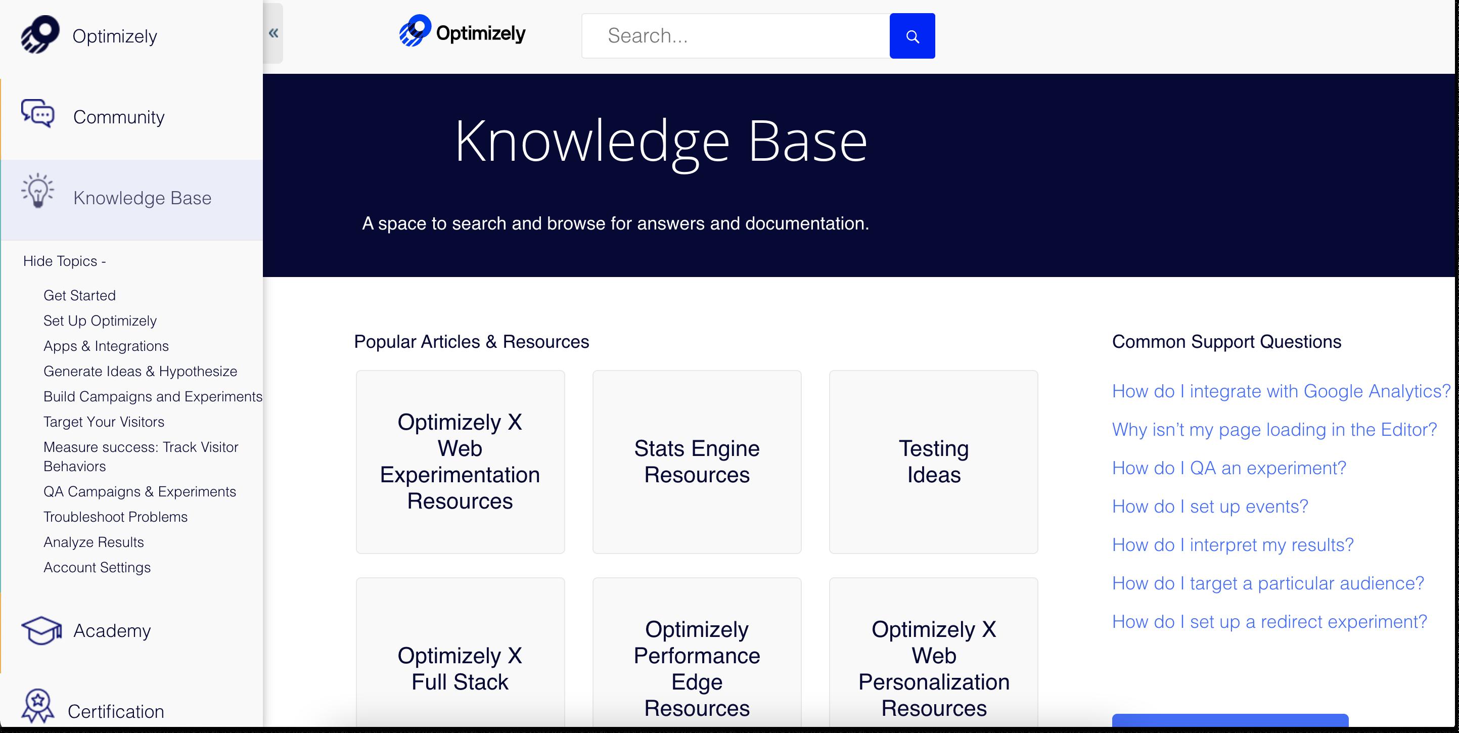 optimizely knowledge base
