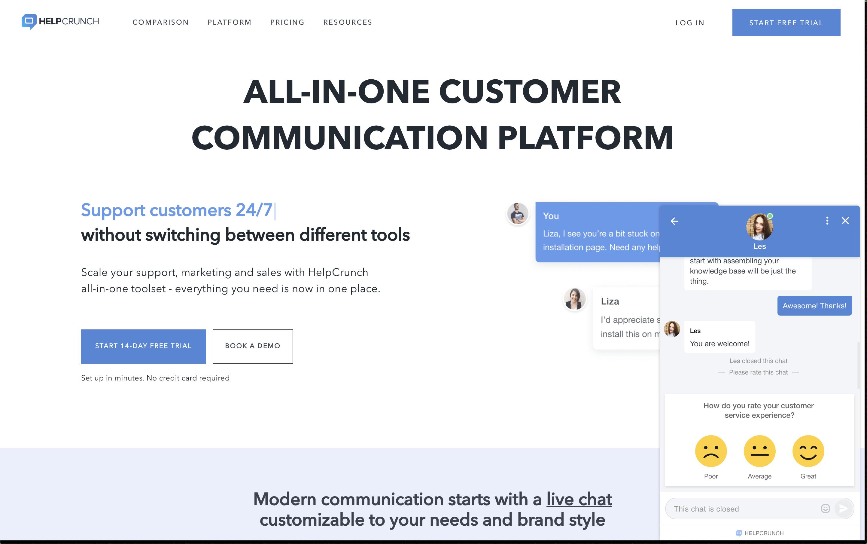 helpcrunch chat rating