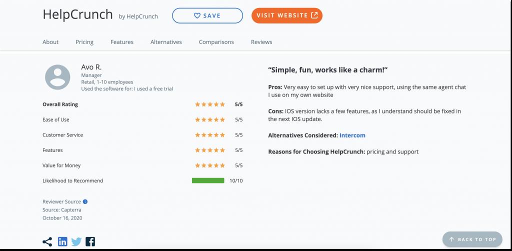 helpcrunch capterra review