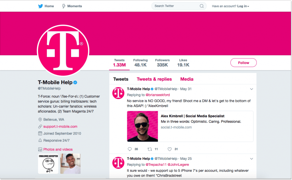 T-Mobile customer service in twitter